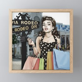 Retro Pinup Girl Shopping on Rodeo Drive Framed Mini Art Print