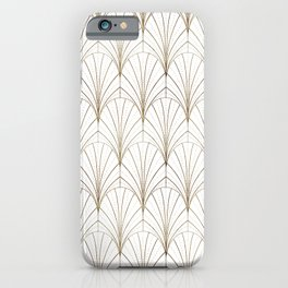 Art Deco Waterfalls // White & Gold iPhone Case