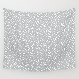 Silver Gray and White Polka Dot Pattern Wall Tapestry