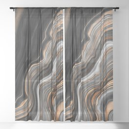 Elegant black marble with gold and copper veins Sheer Curtain