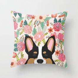 Tricolored Corgi cute corgi florals dog portrait custom dog art pet friendly dog head cell case Throw Pillow