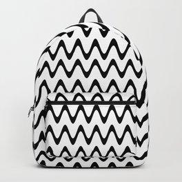 Zigzag, Horizontal Black and White Rippled Stripes - Chevron Graphic Design Backpack