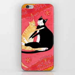 Cats on a rug Tuxedo cat and Orange Tabby by Tascha iPhone Skin