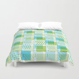 Halftone Moiré - Blue & Green Duvet Cover