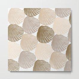 Sea Shells Pattern in Beige and Cream Metal Print