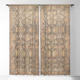 Antique Persian Malayer Rug Print Sheer Curtain