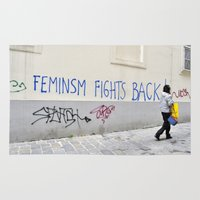 feminism Area & Throw Rugs featuring Feminism fights back by SpaceoperaImage