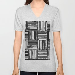 Music Cassette Stacks - Black and White - Something Nostalgic IV #decor #society6 #buyart Unisex V-Neck