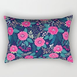 Floral pattern. Bright beautiful roses on a blue background. Rectangular Pillow