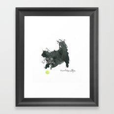 Scruffy Black Dog and a Tennis Ball Framed Art Print