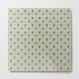 Geometrical orange gray green zigzag cactus pattern Metal Print