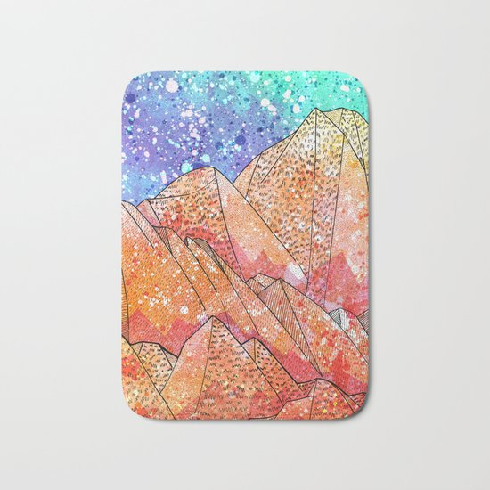 Paint Splatter Mountains Bath Mat