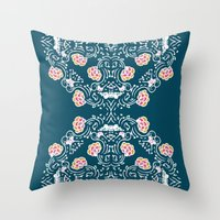 folk Throw Pillows featuring Folk by katharine stackhouse