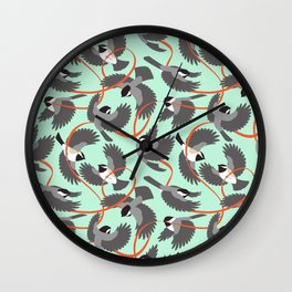 Chickadees with Ribbon Wall Clock