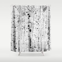 Black and White Aspens Shower Curtain
