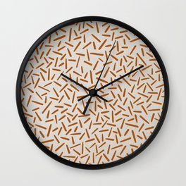 Mudcloth Orange Lines in White Linen Wall Clock