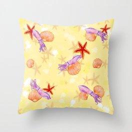 Sandy Squids Throw Pillow