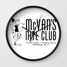 McVan's Nite Club Black Wall Clock