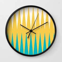 Geometrical retro colors modern print Wall Clock