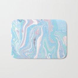 Blue aqua teal prim pink watercolor abstract marble Bath Mat