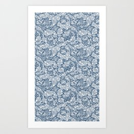 William Morris Navy Blue Botanical Pattern 5 Art Print