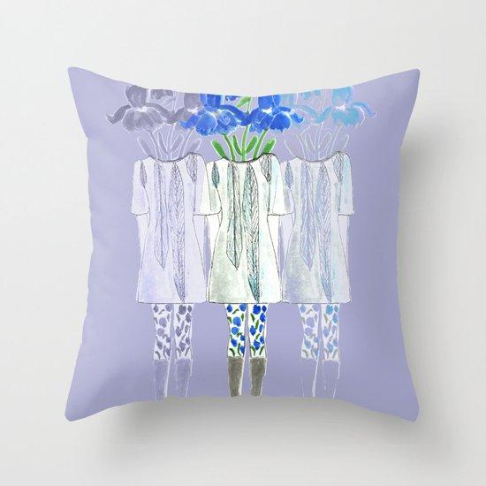 Iris Illustration Throw Pillow
