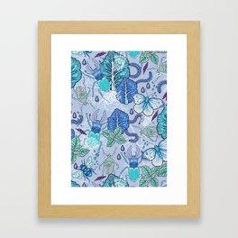 Frozen bugs in the garden Framed Art Print