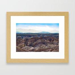 Looking across the Borrego Badlands Canyons towards the Hazy Mountainsin the Anza Borrego Desert Framed Art Print