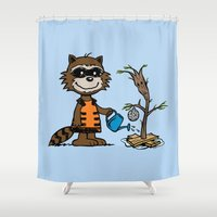 groot Shower Curtains featuring Groot Grief! by Mike Handy Art