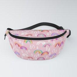 Rainbow Rain Pattern - Pink Fanny Pack