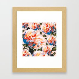 Big flowers blue & orange Framed Art Print