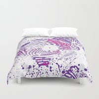 deadmau5 Duvet Covers featuring Zebra Vinyl by Sitchko Igor