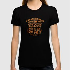 Roald Dahl on Positive Thinking Womens Fitted Tee X-LARGE Black