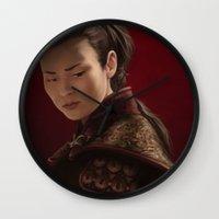 mulan Wall Clocks featuring Mulan by Ravenno