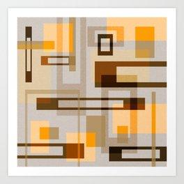 Mid Century Modern Blocks on Sand Art Print