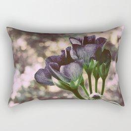 Flowers Muted Navy Blue & Green Rectangular Pillow