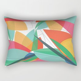 Abstract multicolored tropical flower, bird of paradise, superimposed shapes and transparencies Rectangular Pillow