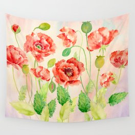 Watercolor Red Oriental Poppies Wall Tapestry