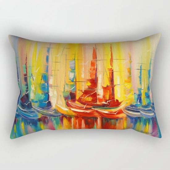 Rainbow boats Rectangular Pillow