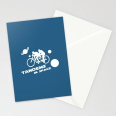 Tandems in Space in Blue Stationery Cards
