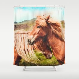 Horses couple watercolor painting #3 Shower Curtain