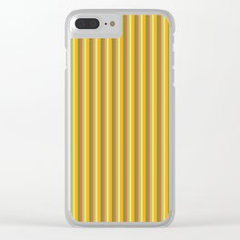 Golden Shades of Orange & Yellow with Fresh Green Tones in Vintage Vertical Stripes Clear iPhone Case