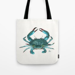 """Blue Crab"" by Amber Marine ~ Watercolor Painting, Illustration, (Copyright 2013) Tote Bag"