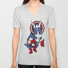 Captain Ameritops - Superhero Dinosaurs Series Unisex V-Neck