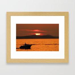Sun behind the clouds - Sunset in Zadar Framed Art Print