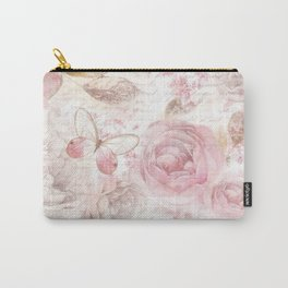 Vintage pastel pink brown butterfly floral typography Carry-All Pouch