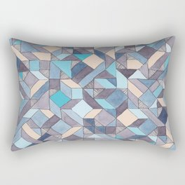 Shifitng Geometric Pattern in Blue Rectangular Pillow