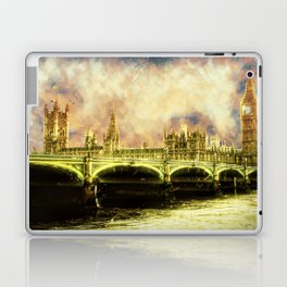 Abstract Golden Westminster Bridge in London Laptop & iPad Skin