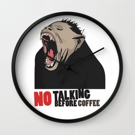 NO Talking before Coffee - Monkey yawn T-shirt and mug design Wall Clock
