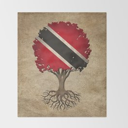 Vintage Tree of Life with Flag of Trinidad and Tobago Throw Blanket